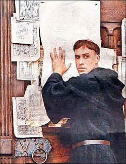Is that Martin Luther or St. Louis Catholic nailing his protests on the castle door?