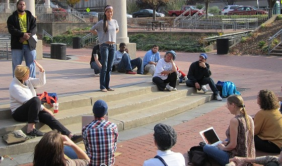 Members of Occupy St. Louis meet Sunday in a tent-free Kiener Plaza. - PHOTO: TONY D'SOUZA