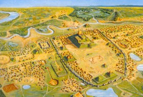 An artist's rendering of ancient Cahokia. Say, is that an Arch? - IMAGE VIA