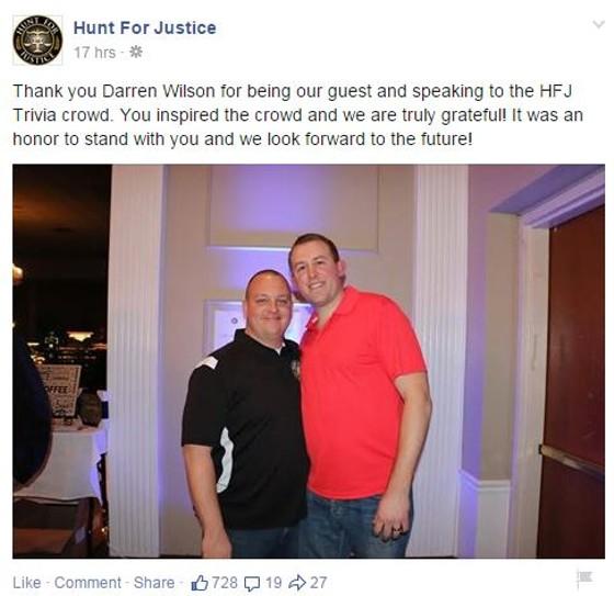 Christopher Hunt, director of Hunt of Justice, welcomed Darren Wilson to speak to law enforcement supporters last weekend. - FACEBOOK VIA HUNT FOR JUSTICE