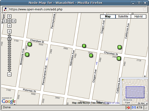 """A map of the current WiFi """"nodes"""" on Cherokee Street's WasabiNet"""