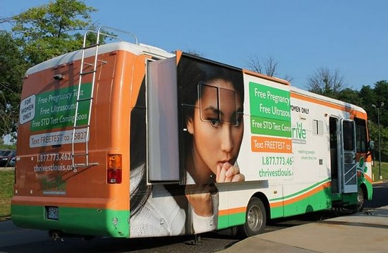 Thrive's mobile clinic, commonly seen outside Planned Parenthood's St. Louis clinic. - VIA