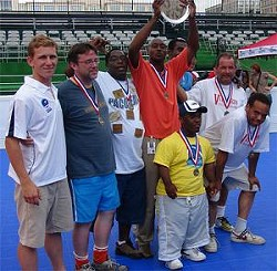 "The Roadies display their ""Fair Play Award"" at last year's Homeless USA Cup."