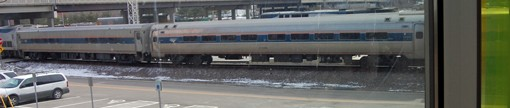 An Amtrak train at the St. Louis station on Thursday waits for passengers. High-speed rail lines will be added to accomodate travelers for trips between St. Louis and Chicago.