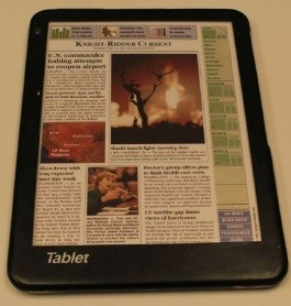 Roger Fidler's 1994 tablet prototype, created for Knight-Ridder - IMAGE VIA FEDERAL COURT RECORDS