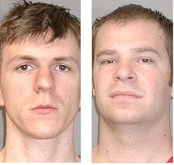 O'Keefe (left) and Basel photographed by authorities following their arrest in New Orleans last month.