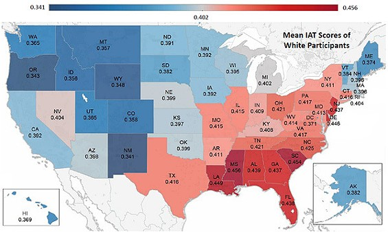 The more red your state, the more implicitly racist it is. - PROJECT IMPLICIT