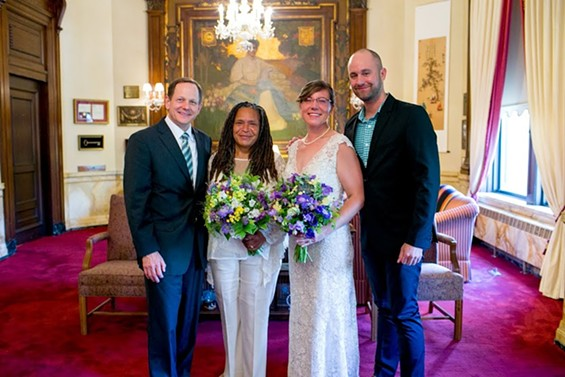 The happy couple with Mayor Francis Slay and Shane Cohn, the first openly gay man elected to St. Louis city government.