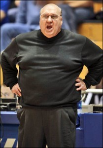 Rick Majerus, head coach of the Billikens. Luckily he keeps his players under tighter wrap than he does his boobs.