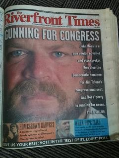"John Ross on the cover of the RFT in August 1998 under the headline, ""Gunning for Congress."""