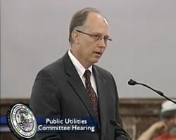 Water Commissioner Curt Skouby testifies before the Public Utilities Committee. - SAINTLOUISTV