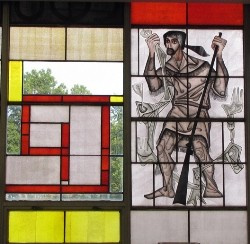 Stained-glass window from Lewis & Clark Library. - PHOTOS: LINDSEY DERRINGTON AND MODERNSTL