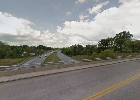 The bridge over I-55 where some idiot is throwing rocks at traffic. - GOOGLE MAPS