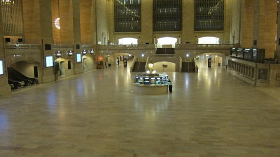 Grand Central train station. Spotted: lone MTA employee, closing up shop. Xoxo MTA