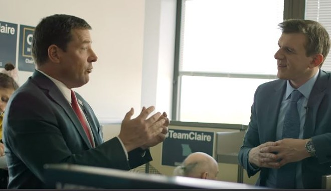 James O'Keefe (right) a fake journalist, talks to Ed Martin, a fired pundit, inside a fake campaign office. - SCREENSHOT VIA YOUTUBE