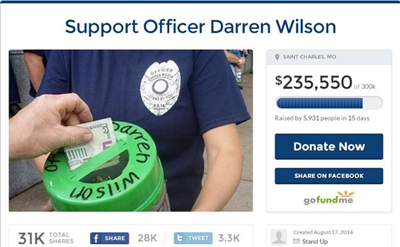Right now, this fundraiser is not taking donations for Officer Darren Wilson. But that could change. - VIA