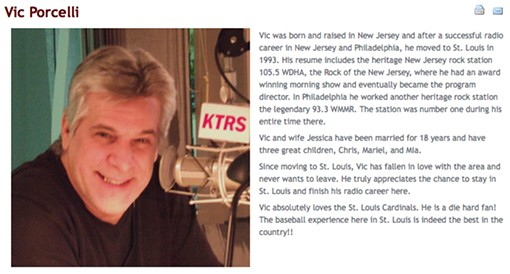 Porcelli's biography on the KTRS Web site - SCREEN SHOT OF KTRS WEB SITE