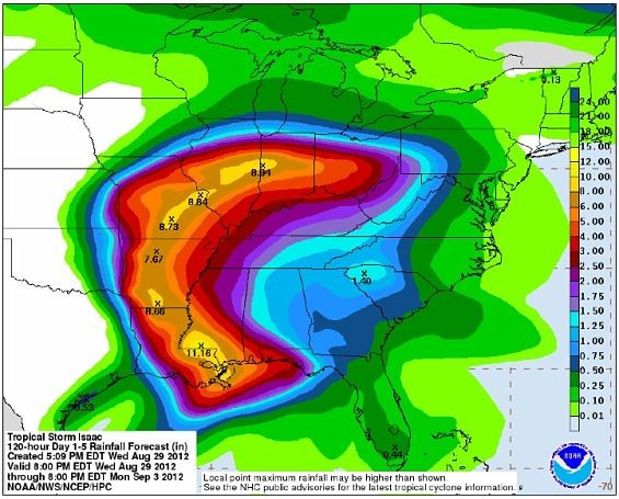 The National Weather Service predicts Isaac will give us a little rain. - NATIONAL WEATHER SERVICE