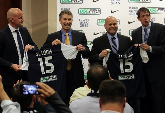 The execs behind St. Louis' new pro soccer team (from left to right): USL Pro vice president Jake Edwards, Jim Kavanaugh and Tom Strunk of SLSG, USL Pro president Tim Holt - DANNY WICENTOWSKI
