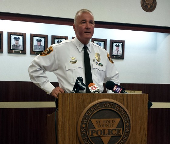 St. Louis County Police Chief Jon Belmar at Friday's press conference in Clayton. - JESSICA LUSSENHOP