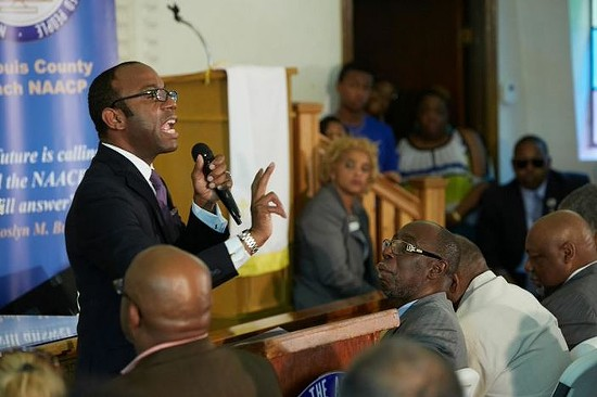 NAACP President Cornell Brooks called for a halt to looting in Ferguson at yesterday's press conference. - THEO WELLING