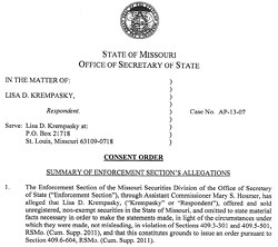 Click for a copy of consent order against Lisa Krempasky.