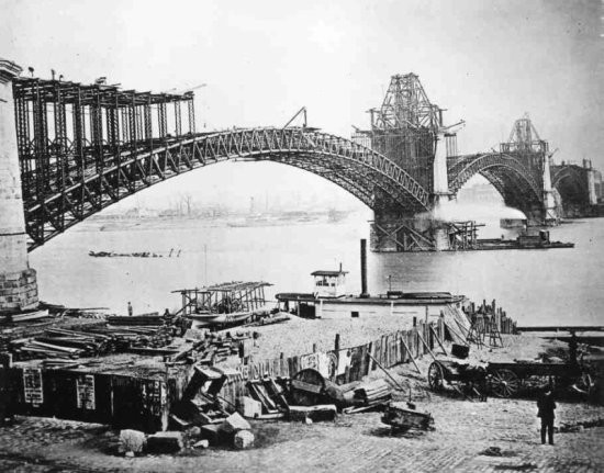 The Eads Bridge under construction - CREDIT: WIKIMEDIA COMMONS