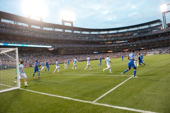 Chelsea F.C. and Manchester City F.C. played at Busch Stadium in 2013. - JON GITCHOFF