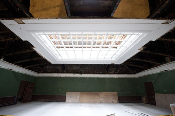 Pains have been taken to preserve some of the library's more striking architectural features, like this skylight on the third floor. - KHOLOOD EID