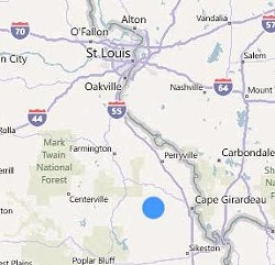 The dog was discovered near Marble Hill, two hours south of St. Louis.