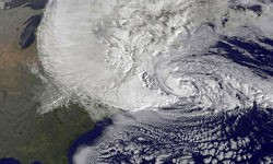 A satellite image of Hurricane Sandy. St. Louis is just beyond the left edge of this picture. That is, nowhere. - IMAGE VIA