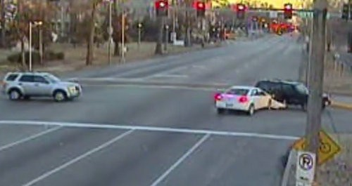 A red-light camera catches a crash in St. Louis City. - AMERICAN TRAFFIC SOLUTIONS