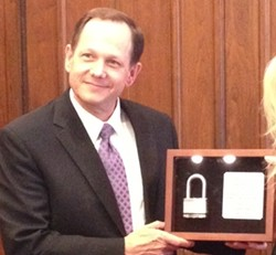 "Mayor receiving ""lock to the city"" on Friday. - COURTESY MAGGIE CRANE"