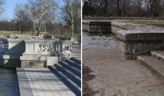 Emerson Grand Basin in 2003 and now. - COURTESY OF FOREST PARK FOREVER