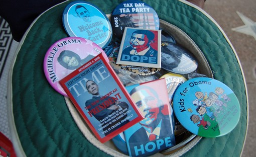 """King says his buttons -- from Obama """"Hope"""" to Obama """"Dope"""" -- sold very well at political rallies."""