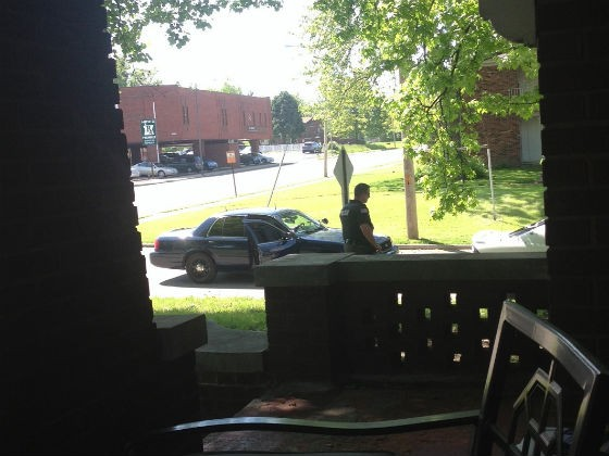 Larger version of the photo Wheeler snapped of the incident from her view on the porch. - ROBIN WHEELER