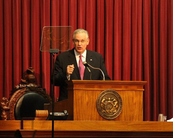 Governor Jay Nixon gives the State of the State address to the legislature. - VIA