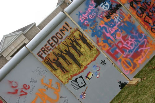 A replica of the Berlin Wall, built by students at Westminster College. - ROB CROUSE