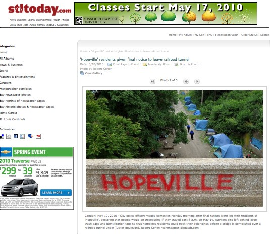 "As seen on Stltoday.com, this image depicts ""Hopeville,"" the Great Recession successor to the Depression's Hooverville, soon to be demolished. - IMAGE SOURCE"