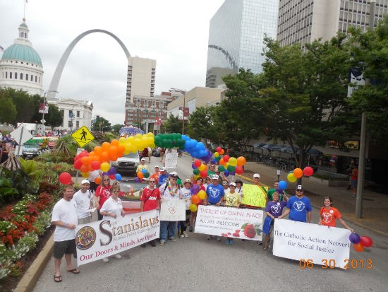 Catholic groups marching in St. Louis PrideFest this year. - COURTESY OF CATHOLIC ACTION NETWORK