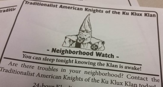 The KKK sued over the right to pass out leaflets like these. - VIA