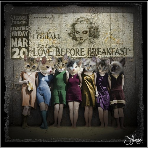 LOVE BEFORE BREAKFAST, PART OF JAY THOMPSON'S CATWORKS. THOMPSON WILL BE SELLING HIS WORK AT THE SHAW ART FAIR ON SATURDAY AND SUNDAY.