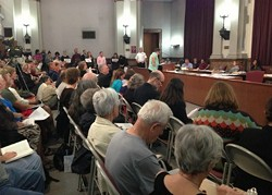Room 208 at City Hall packed for Veolia hearing. - TWITTER USER @STLPLC