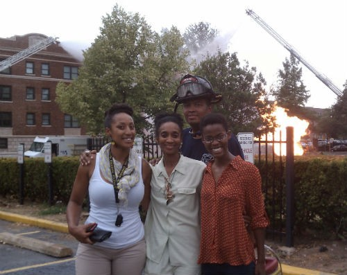 From left to right: Andrea Peoples, DeBorah Ahmed, an unidentified firefighter, and Malena Amusa were more concerned with plugging Peoples's cancelled dance class (Kreative Pandemonium!) than concerned for their safety.