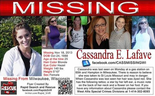 A missing poster for Cassandra LaFave. - FACEBOOK