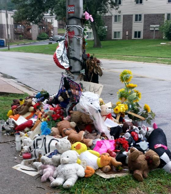 The memorial on September 9, 2014. - JESSICA LUSSENHOP