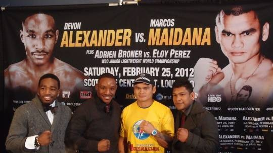 Alexander and Maidana, center two, will go toe-to-toe on February 25. - ALBERT SAMAHA