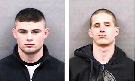 Sean Fitzgerald (right) and Zachary Tucker face hate crime charges after allegedly dropping cotton balls outside Mizzou's black cultural center.