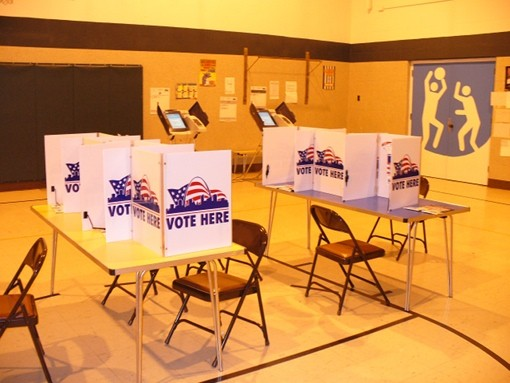 Empty voting booths today in Dogtown.