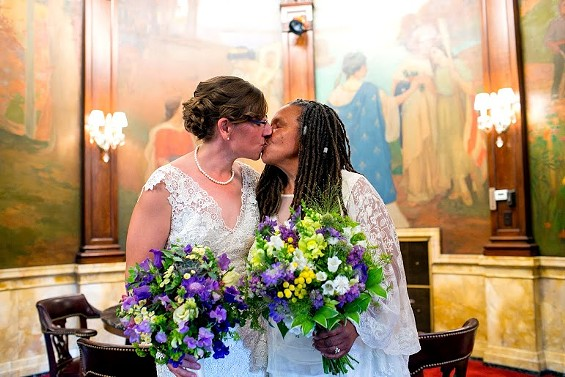 Miranda Duschack and Mimo Davis are the first lesbian couple to be married in Missouri. - MAYOR SLAY'S OFFICE